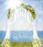 Arch on coust of sea. Wedding card with arch on coast of sea Royalty Free Stock Photography