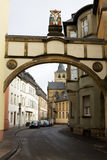 The arch with the Crucifixion scene in Trier, Germany Royalty Free Stock Photos