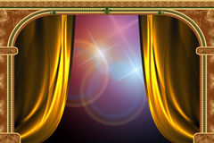 Arch, curtain and the light. Arch with ornaments, curtain and lights Royalty Free Stock Photography