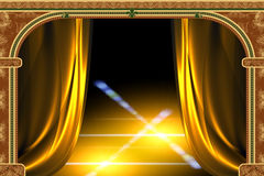 Arch, curtain and the light stock illustration