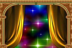Arch, curtain and the light. Arch with ornaments, curtain and lights Royalty Free Stock Images