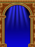Arch, curtain and the light. Arch with ornaments, curtain and lights Stock Photos