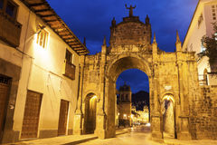 Arch in Cuzco. Peru - Plaza de Armas far in the center stock photos