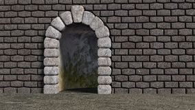 Arch cyclopean with brick wall Royalty Free Stock Photography