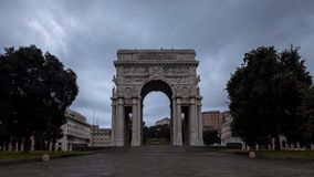Arch with dark clouds stock video footage