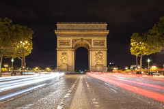 Arch de Triomphe and Champs-Elysees. At Night Royalty Free Stock Images