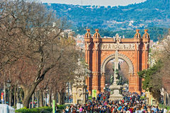 The Arch de Triumph in Barcelona, Spain. Barcelona, Spain - January 26, 2014: The Arc de Triumph in Barcelona, Spain was build in 1888 for Universal Exposition Stock Images