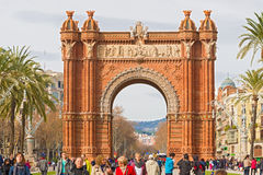 The Arch de Triumph in Barcelona, Spain. Barcelona, Spain - January 26, 2014: The Arc de Triumph in Barcelona, Spain was build in 1888 for Universal Exposition Stock Image