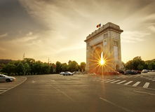 Arch of de triumph Bucharest, Romania Arcul de triumf. Arch de Triumpf at sunset in Bucharest, Romania royalty free stock photos
