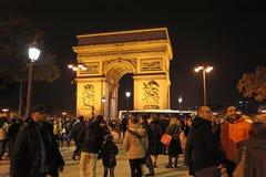 Arch de Truimph τή νύχτα, Παρίσι Στοκ εικόνες με δικαίωμα ελεύθερης χρήσης
