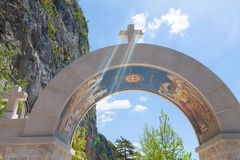 Arch decorated with mosaics - entrance to the Royalty Free Stock Image