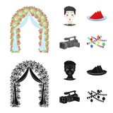 The arch is decorated with roses and silk, a clown in a cap, a plate with red napkins, a video camera. Event services. Set collection icons in cartoon,black Royalty Free Stock Photography