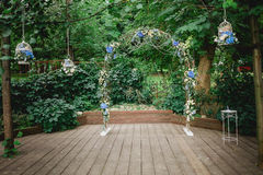 Arch and decoration for a wedding ceremony Royalty Free Stock Images