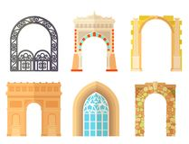 Arch design architecture construction frame classic, column structure gate door facade and gateway building ancient. Construction vector illustration stock illustration