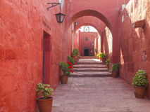 Arch design of Monastery of Santa Catalina royalty free stock photography