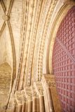 Arch detail of door at Lleida cathedral Royalty Free Stock Photo
