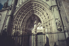 Arch and door of the cathedral of Toledo, imperial city. Spain Stock Image