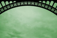 Arch of the eiffel tower on green cloud. Background Stock Images