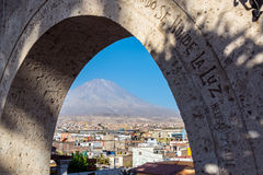 Arch and El Misti Volcano Stock Photography