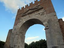 Arch of Emperor Augustus, Rimini, Italy. stock image
