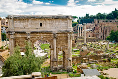 Arch of Emperor Septimius Severus in Rome Stock Images