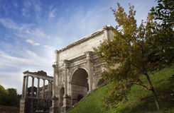 The Arch of Emperor Septimius Severus in Rome, Italy Stock Image