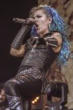 Arch Enemy, Alissa White-Gluz live concert 2018, Hellfest heavy metal festival. Arch Enemy is a Swedish melodic death metal band, originally a supergroup, from royalty free stock photography