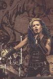 Arch Enemy, Alissa White-Gluz live concert 2018, Hellfest heavy metal festival. Arch Enemy is a Swedish melodic death metal band, originally a supergroup, from stock photography