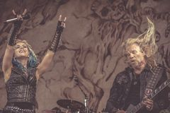 Arch Enemy, Alissa White-Gluz and Jeff Loomis live concert 2018, Hellfest heavy metal festival. Arch Enemy is a Swedish melodic death metal band, originally a stock photography