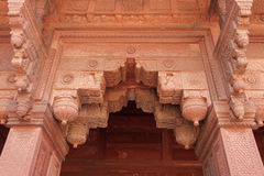 Arch entrance, ornately decorated with carvings. Red Fort, Agra, India Royalty Free Stock Images