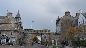 Entrance of the St andrews. Arch in the entrance of the St andrews in Scotland in United kingdom in a dark day stock images