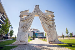Arch Entrance to Budapest National Theater Stock Photo