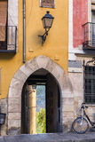 Arch of entry to a street close to the cathedral of Cuenca to th Stock Images
