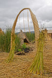 Arch on the floating islands of the Uros, Lake Titikaka, Peru Stock Photos