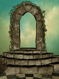 Arch with flowers. And plants stock illustration