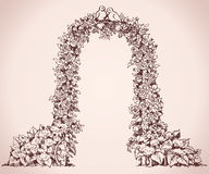 Arch of flowers. Vector sketch Royalty Free Stock Photo