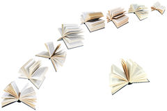 Arch of flying books isolated Royalty Free Stock Photo