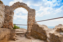 Arch in fortress on Kaliakra headland, Bulgarian Black S. Ancient arch in fortress on Kaliakra headland, Bulgarian Black Sea Coast Royalty Free Stock Image