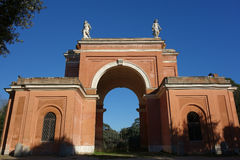 Arch of four winds. The Arch of the Four Winds on the site of the former villa Corsini in the Villa Pamphili public park, Rome,Italy Stock Image