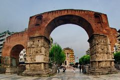 The Arch  of Galerius. An archeological sightseeing called the Arch of Galerius,in a towns center in A greek twon thessaloniki Stock Image