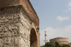 Arch of Galerius in background  Rotunda with minar Royalty Free Stock Photo