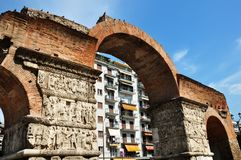 Arch of Galerius and Rotunda Thessaloniki. Arch of Galerius and Rotunda in Thessaloniki Greece stock photography