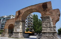 Arch of Galerius and Rotunda. Arch of Galerius in Thessaloniki, Greece stock photo