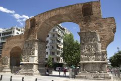 Arch of Galerius. In Thessaloniki, Greece stock photography