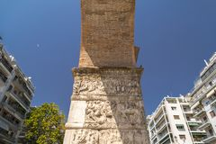 The Arch of Galerius in Thessaloniki, Greece. The Arch of Galerius is early 4th-century monument in the city of Thessaloniki in Central Macedonia in northern royalty free stock images