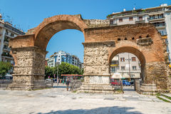 The arch of Galerius. THESSALONIKI, GREECE - JULY 26,2014 - The arch of Galerius in Thessaloniki.It is the second-largest city in Greece and the capital of the stock photos