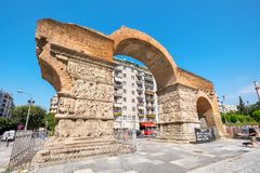 Arch of Galerius. Thessaloniki, Macedonia, Greece. THESSALONIKI, GREECE - SEPTEMBER 17, 2016: The Arch of Galerius Kamara one of most important monuments in the royalty free stock image