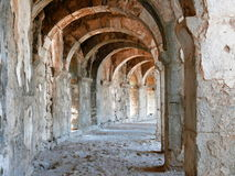 Arch gallery in ancient amphitheater Royalty Free Stock Photography