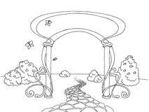 Arch garden graphic black white landscape sketch illustration Royalty Free Stock Image
