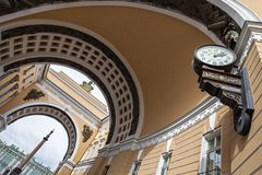 Arch of General Staff Building, old clock and Alexander Column,. Saint Petersburg, Russia Stock Images